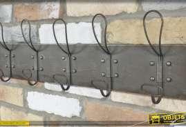 Support mural en métal finition ancienne, crochets doublés pour 10 vetements
