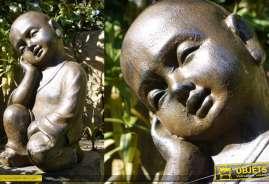Sculpture jardin en résine, forme de moine finition brun ancien