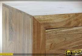 Meuble TV en bois d'acacia massif, richement texturé, 2 tiroirs de rangement, esprit rustique moderne, 120cm