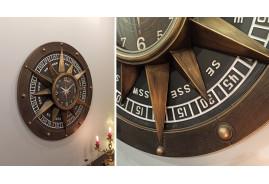 Horloge murale en bois et métal rose des vents Ø 79 cm