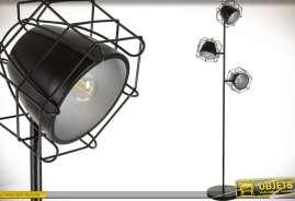 Lampadaire en métal, coloris noir, avec trois projecteurs et grilles de protection, style indus