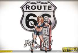 Grande décoration murale en métal thème Route 66 US avec pinup rétro