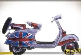 Déco murale en métal de style vintage représentant un scooter avec tuning So British