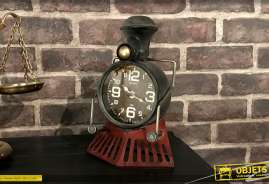 Horloge murale en métal en forme d'avant d'ancienne locomotive à vapeur