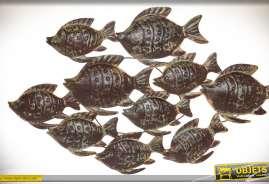 Luxueuse décoration murale représentant un banc de poisssons