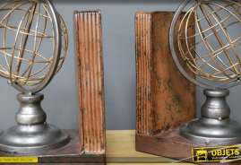 Paire de serre-livres en métal, représentant deux sphères en wireframes coloris doré et argenté