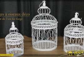 lot de 3 cages à oiseaux décoratives blanches