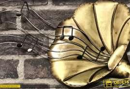 Deco murale d'un gramophone avec portée de musique et notes
