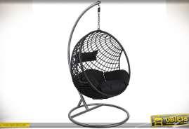 Balancelle ronde en polyrésine avec coussin d'assise et de dos, réglable en hauteur.
