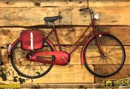 Déco murale vintage de vélo finition rouge ancien 88cm