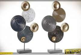 Série de deux décorations à poser en métal de style abstrait modernes, formes de cercles aux finitions industrielles, déclinaison de bleu, esprit trop