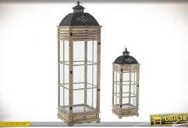 Duo de lanternes géantes en bois et métal avec tiroir et effet persiennes