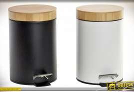 Série de deux corbeille à papier ou poubelles de salle de bain, noire et blanche avec bambou naturel, style moderne, 24cm