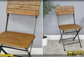 Chaise de jardin pliante en bois de manguier et en métal, esprit rustique, bois richement veiné, 50cm d'assise