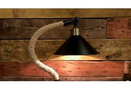 Lampe à poser de style industriel et rétro en métal noir vieilliet cordage de chavre torsadé