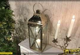 Lanterne carrée en métal finition doré très brillant esprit chromé, grande anse, porte latérale