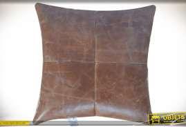 Coussin pour fauteuil ou canapé en cuir de buffle véritable coloris havane 45 x 45 cm 0,8 kg
