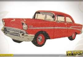 Paillasson de pas de porte en coco motif voiture américaine rouge