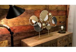 Décoration à poser style trophée en métal, de style abstrait finitions modernes industrielles, 65cm
