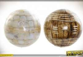 Série de 2 sphères décoratives finition brun foncé et nacré, Ø 10cm