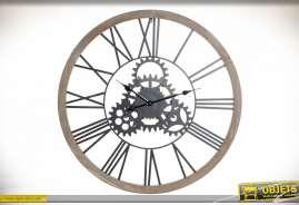Grande horloge murale de style industriel en bois et engrenages en métal, finition naturelle et oxydée, Ø80cm