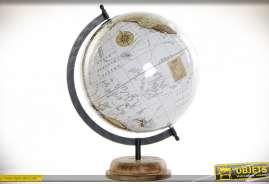 GLOBE TERRESTRE ACACIA PVC 28X28X37 BRILLANT BLANC