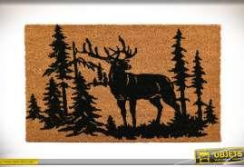 Paillasson imprimé motifs de cerf et foret, esprit montagne