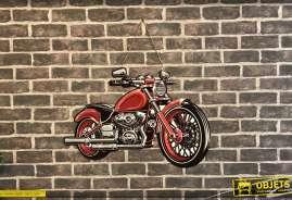 Plaque en métal découpée et peinte en forme de moto ancienne, esprit rétro vintage des années 60-70
