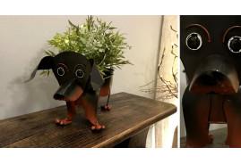Jardinière en forme de teckel, collection canine, décoration originale à 2 pots, 22cm