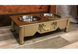 Ecuelle pour animal de compagnie en bois et inox, ambiance baroque finition dorée
