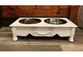 Gamelle pour animal de compagnie en bois et bols en inox, ambiance baroque romantique, 2x0.5L