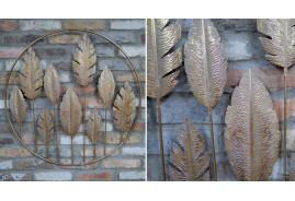 Grande décoration murale ronde, feuilles au centre, esprit moderne contemporain, Ø81cm