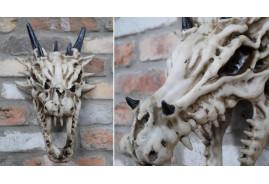 Tête de dragon murale en résine effet réaliste, ambiance os et skull esprit boho féerique