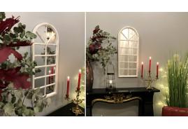 Miroir thermoformé en forme de fenêtre de veranda, ambiance romantico blanche reflets dorés, 75cm