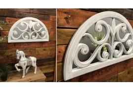 Miroir en demie sphère style shabby romantique, finition blanc ancien doré, esprit fenêtre 76cm