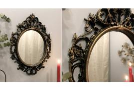 Miroir de style baroque thermoformé, finition noir et doré, ambiance chateau