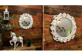 Miroir rond thermoformé de style romantico baroque, finition blanche dorée