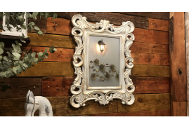 Miroir de forme ronde en thermoformé finition blanc ancien avec reflets doré effet moulures en platre, 65cm