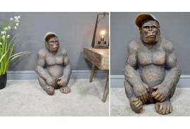 Gorille de 58cm de haut en magnésie (effet pierreux) finition brune aux reflets dorés