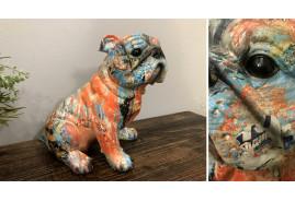 Statuette de bulldog style moderne contemporain, ambiance colorée, 23cm