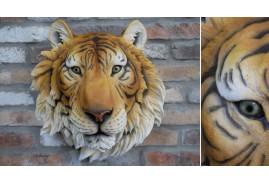 Tête de tigre mural en résine, effet réaliste avec regard vif, ambiance safari animaux sauvages