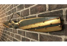 Hélice d'avion biplan à suspendre, en bois effet métal avec étoiles en cuir véritable, cordon effet cuivre
