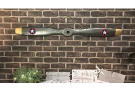 Hélice d'avion en bois effet métal ambiance armée de l'air britanique, ornements en métal