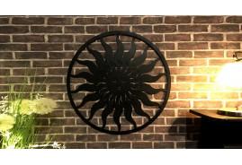 Grande déco murale pour salon ou jardin, en métal finition noire effet ancien, 82cm de diamètre