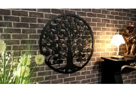 Grande décoration murale en métal en forme d'arbre finition noir effet légèrement ancien, 82cm de diamètre