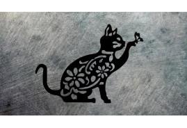 Déco murale de chat en métal, ambiance féline et papillons, déco trompe l'oeil