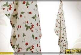 Torchon de forme rectangulaire en tissu gaufré avec motifs de fruits rouges
