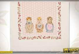 Essuie-main en coton en 60 x 40 coloris rose pâle avec illustration de matriochkas