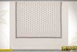 Essuie-mains en coton à pois et pointillés coloris gris clair