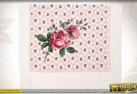 Serviette de cusine à motis de grandes et petites roses